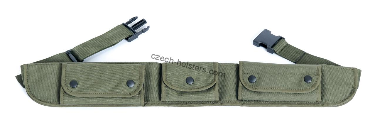 Hunting Shotgun and Rifle Combined Ammo Belt - Adjustable w/ Pockets - Green